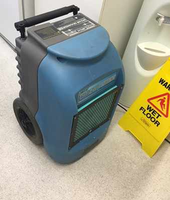 dehumidifier drying moisture in room after carpet water damage 2017