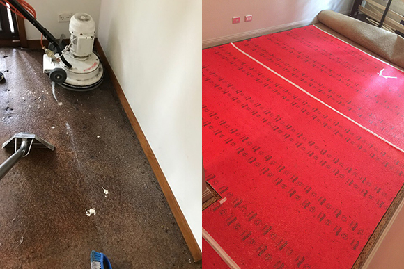 relaying new underlay after floor water damage 2018